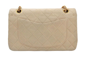 "Authentic Chanel Vintage Beige Lambskin 2.55 9"" Flapover"