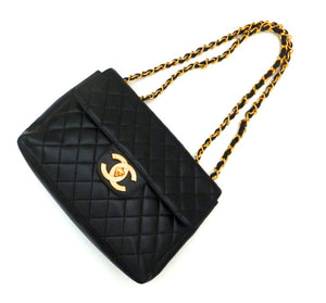 Authentic Chanel Vintage Black Quilted Lambskin Jumbo