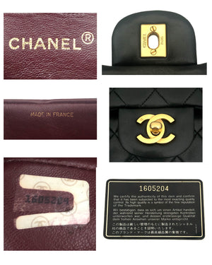 "Chanel Vintage Black Lambskin Small Classic 2.55 9"" Flap Bag"
