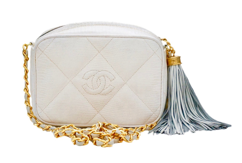 Authentic Chanel Vintage White Lizard Quilted Camera Style Handbag