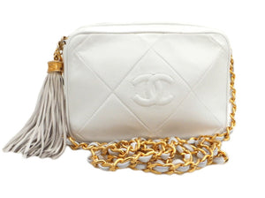 Authentic Chanel Vintage White Camera Style Handbag