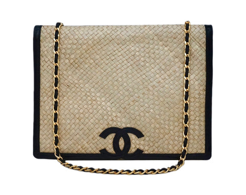 Authentic Chanel Vintage Wicker & Black Patent Jumbo
