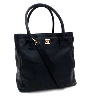 Authentic Chanel Cerf Executive Black Caviar Tall Tote