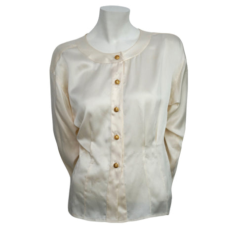 Authentic Chanel Vintage Classic White Silk Blouse