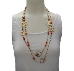 Authentic Chanel Pearl & Beaded Enamel Charm Necklace