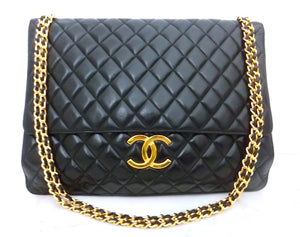 Authentic Chanel Vintage Black Lambskin XLL Maxi Jumbo