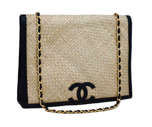 Chanel Vintage Wicker & Black Patent Jumbo