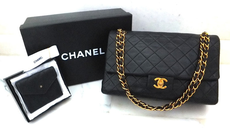 Authentic Chanel VNTG Quilted Navy 2.55 Jumbo + Wallet