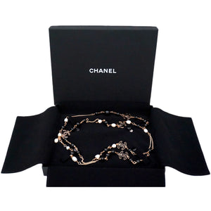 Authentic Chanel Pearl & Black Enamel Charm Necklace