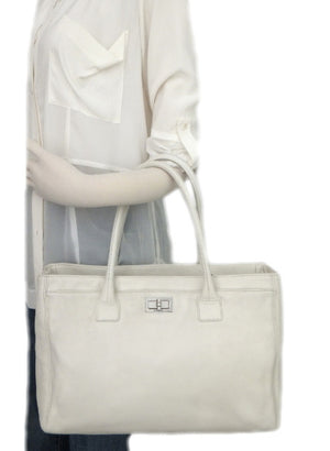 Authentic Chanel Cerf Executive White Caviar Tote