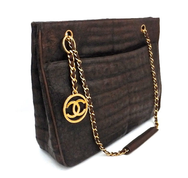 Authentic Chanel Vintage Sienna Brown Alligator Jumbo Tote
