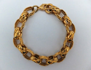 Authentic Chanel Vintage Gold Etched Bracelet
