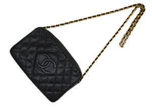 Authentic Chanel Vintage Black Caviar Quilted Camera Style Handbag