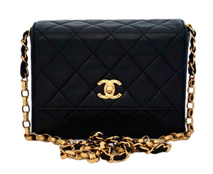 Authentic Chanel Vintage Black Lambskin Rare Etched Chain Mini Flapover