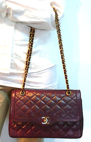 "Authentic Chanel Vintage Quilted Burgundy 2.55 10"" Flapover"