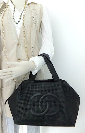 Authentic Chanel Caviar Modern Black Bowler Perforated Handbag