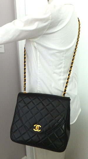 Authentic Chanel Vintage Black Lambskin Flapover
