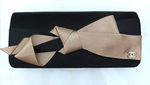 Authentic Chanel Satin Tan & Black Bow Clutch