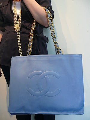 Authentic Chanel Vintage Blue Jumbo Maxi Tote