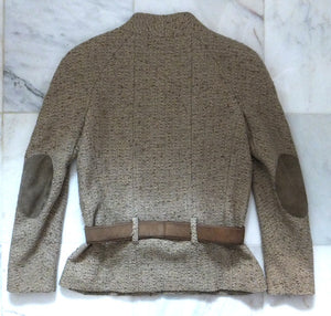 Authentic Chanel Tan Boucle Jacket w Suede Detail