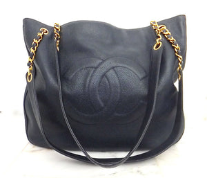 Authentic Chanel Vintage Navy Cavair Jumbo Tote