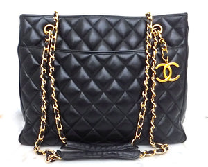 Authentic Chanel Vintage Black Jumbo Tote