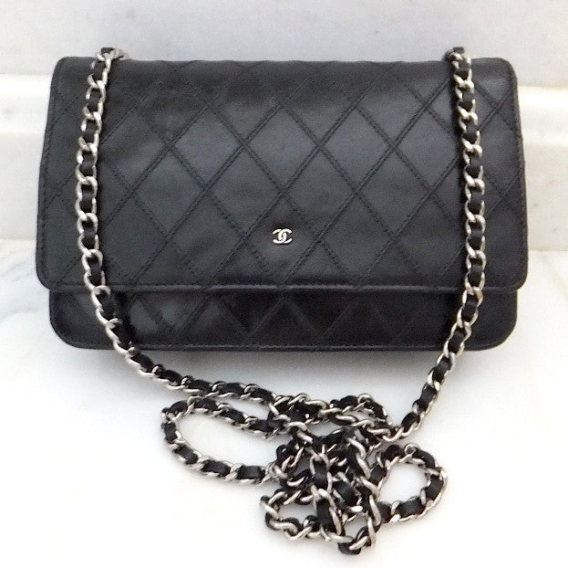 Authentic Chanel Blk Quilted Wallet On Chain (WOC) Handbag