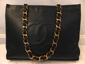 Authentic Chanel Vintage Black Jumbo Maxi Tote