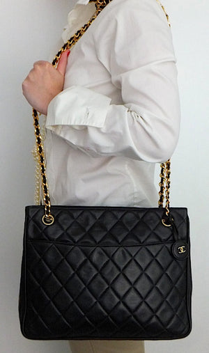 Authentic Chanel Vintage Black Quilted Tote