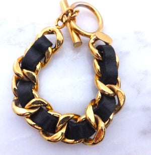 Authentic Chanel Black Thick Chain Bracelet