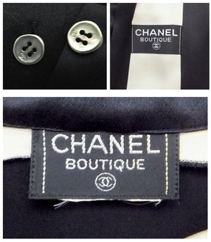 Authentic Chanel Black & White Silk Blouse