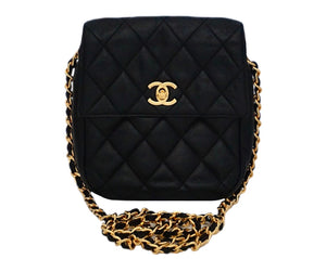 Authentic Chanel Vintage Black Lambskin Mini Flapover