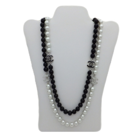 Authentic Chanel Black & White Enamel Necklace