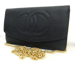 Authentic Chanel Black Caviar Wallet On Chain (WOC) Handbag
