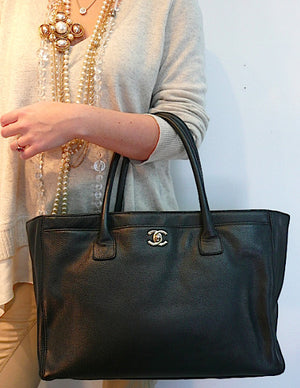 Authentic Chanel Cerf Executive Black Caviar Tote