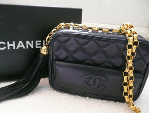Authentic Chanel French Navy Quilted Camera Style Handbag