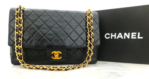 Authentic Chanel Vintage Large Black Quilted Flapover