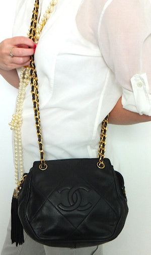 Authentic Chanel Black Vintage Lambskin Octagon Handbag