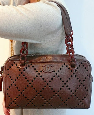 Authentic NEW Chanel Caviar Modern Chain Tortoise Perforated Brn Hbag