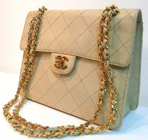 Authentic Chanel Vintage Beige Quilted Caviar 2.55 Flapover