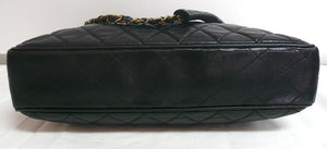 Authentic Chanel Vintage Large Quilted Black Classic Tote