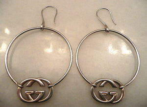 Authentic Gucci Sterling Silver Logo Hoop Earrings