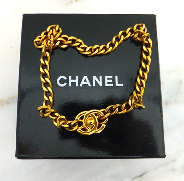 Authentic Chanel Vintage Gold Turnlock Necklace