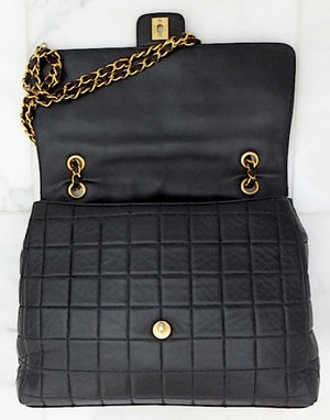 Authentic Chanel Black Chocolate Bar Quilted Lambskin Jumbo