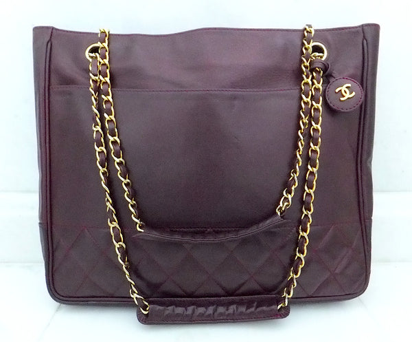 Authentic Chanel Vintage Large Quilted Burgundy Wine Tote