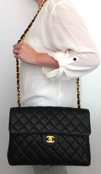 Authentic Chanel Vintage Black 2.55 Jumbo Flapover
