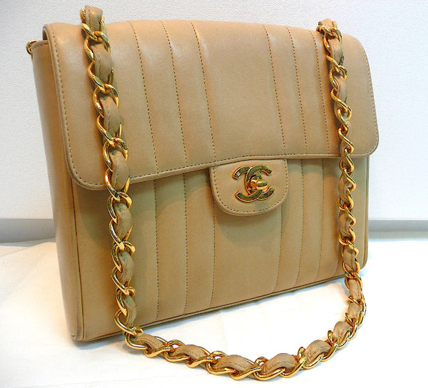Authentic Chanel Vintage Tan 2.55 Flapover