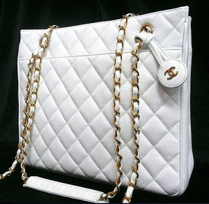 Authentic Chanel Vintage Large Quilted White Caviar Classic Tote