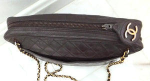 Authentic Chanel Vintage Jumbo Brown Quilted Camera Bag