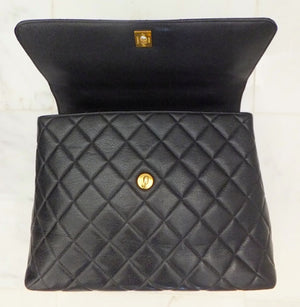 Authentic Chanel Jumbo Quilted Black Caviar Kelly Bag